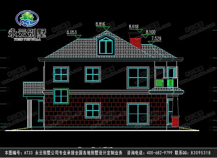 495欧式豪华三层别墅施工图纸别墅设计图纸