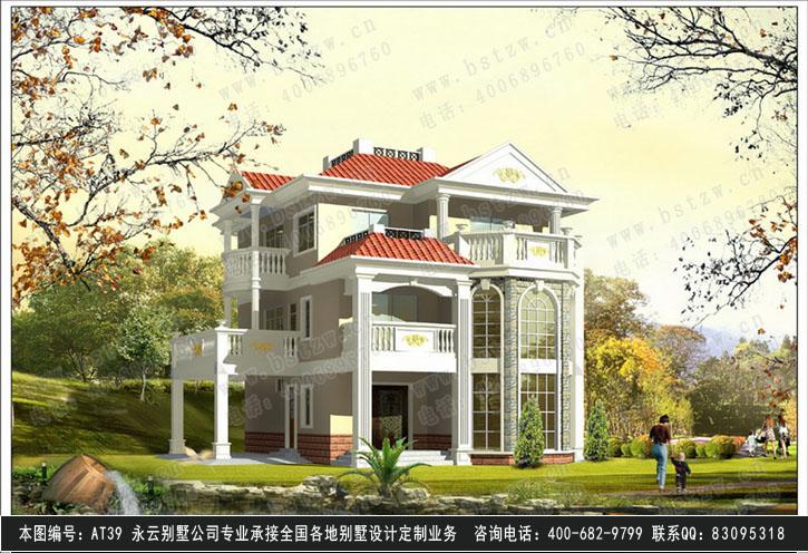 [永云别墅]at39漂亮欧式三层带车库别墅设计13m×14m