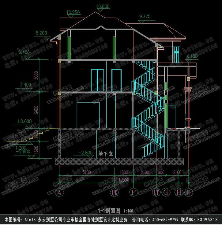 三层欧式别墅立面施工图