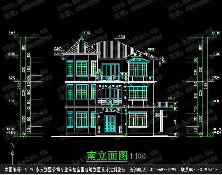879欧式豪华三层别墅施工图纸别墅设计图纸
