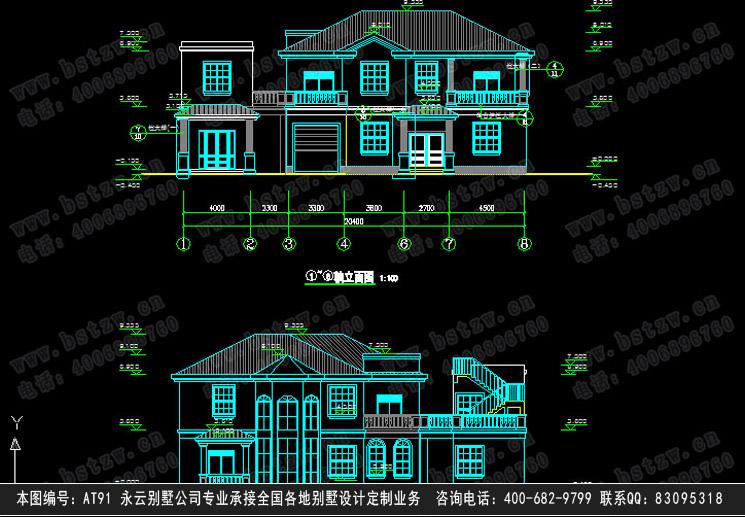 891欧式豪华三层别墅施工图纸别墅设计图纸