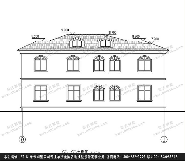 917欧式豪华二层别墅施工图纸别墅设计图纸