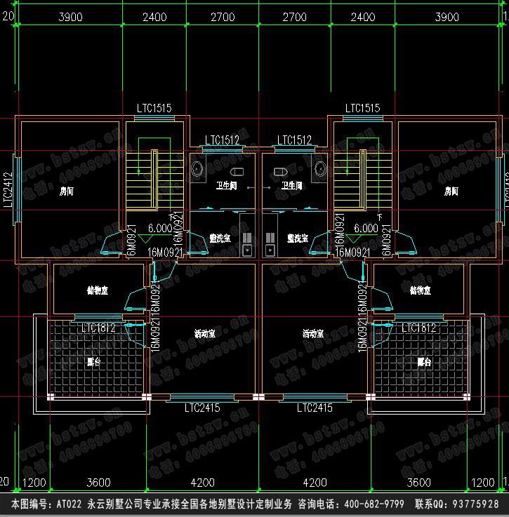 三层双拼别墅三层平面图