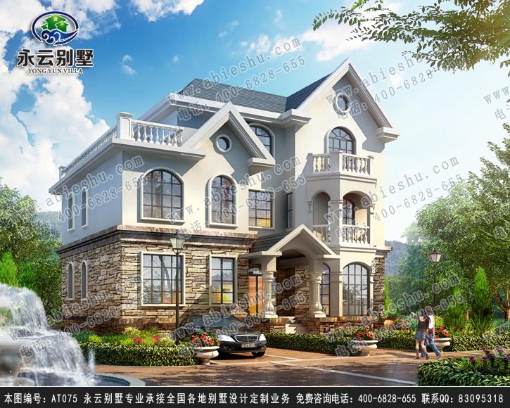 【永云别墅at075三层欧式风格别墅全套设计图纸15mx1