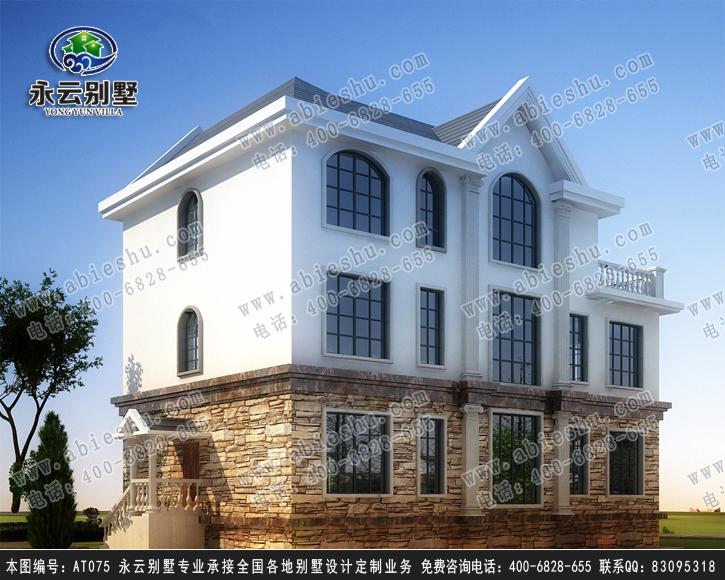 永云别墅at075三层欧式风格别墅全套设计图纸15mx10
