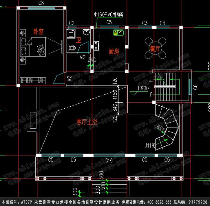 永云别墅at079二层精致带车库别墅全套设计图纸13.54mx13.47m