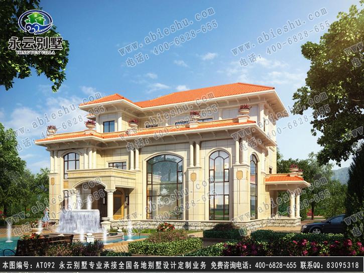 at092三層高端復式別墅全套設計圖紙17.7mx15.7m