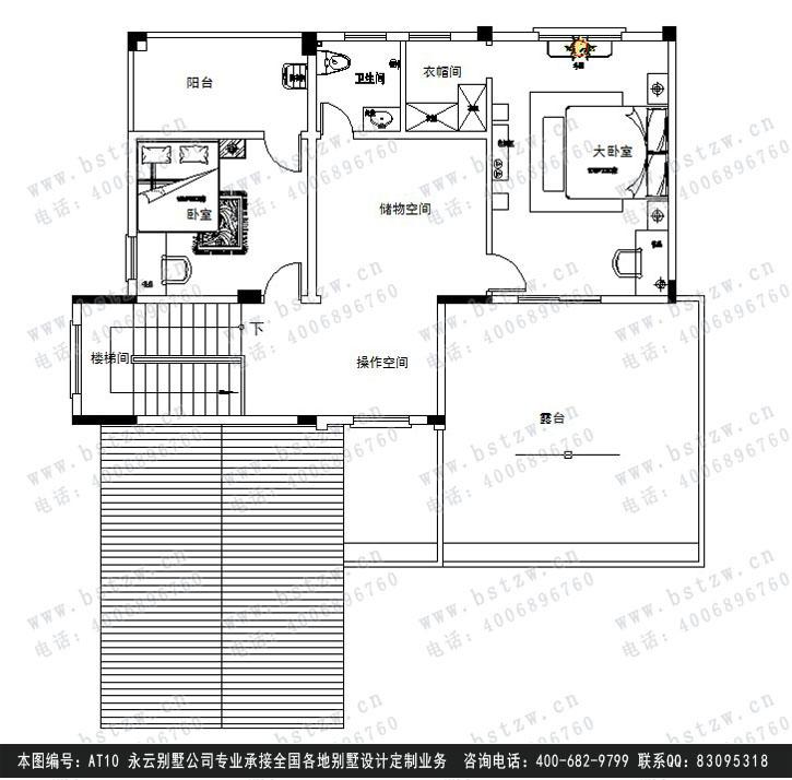 【永云别墅】at10简欧式住宅楼三层带露台别墅设计图纸13m×14m