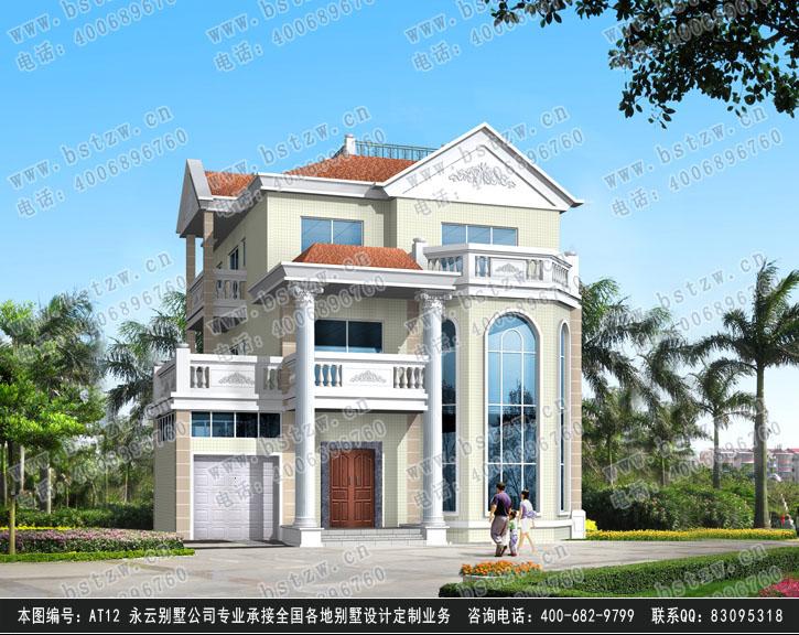 大气欧式别墅设计 at12三层带车库露台豪华别墅施工