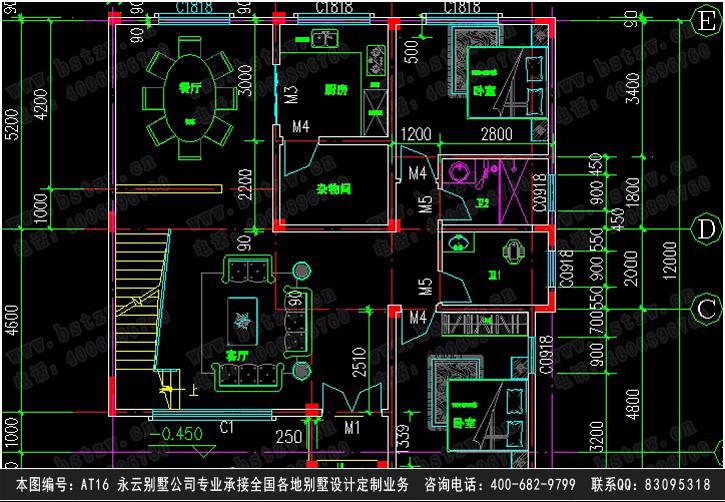 【【永云别墅】at16号三层简欧式别墅设计图纸11m×