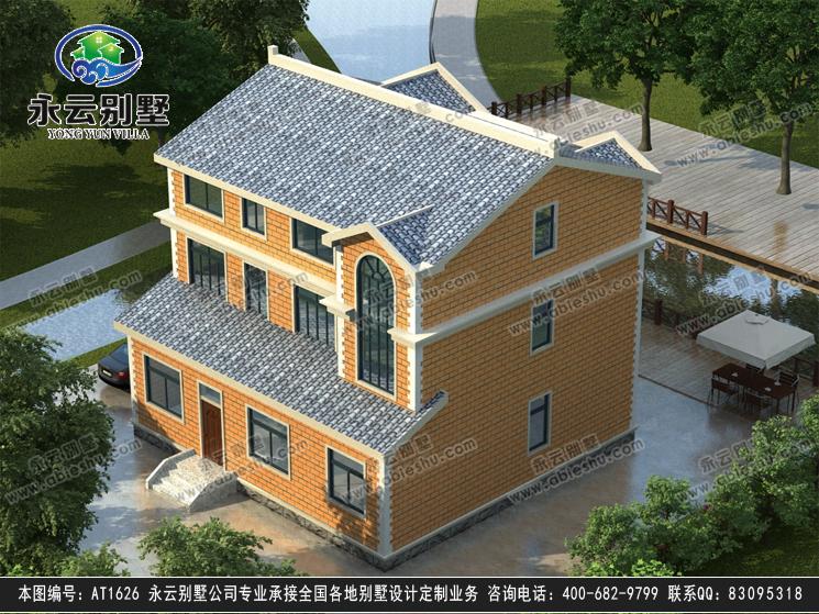 永云别墅at1626三层自建房屋带阳台大气欧式别墅设计