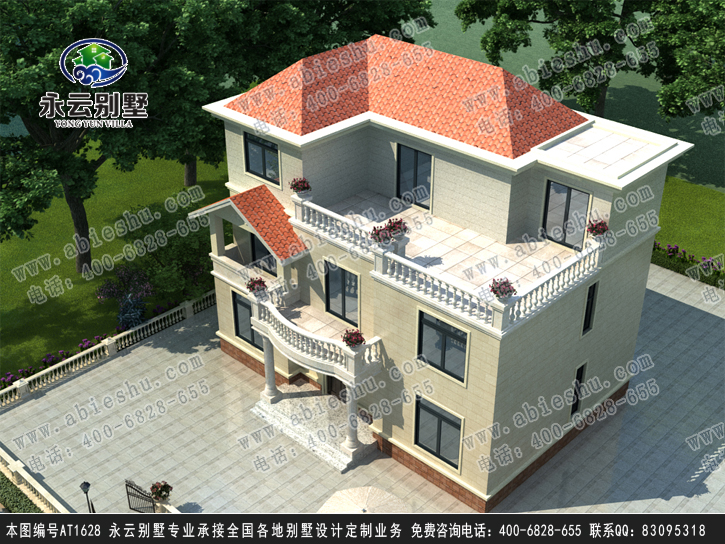 农村三层半框架结构别墅图