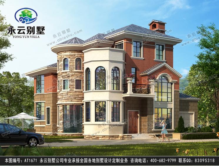 永云别墅at1671带车库简欧式三层私人别墅建筑设计图纸14.3mx14.2m