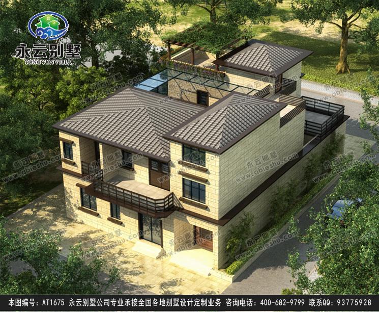 【永云别墅at1675现代中式带内庭院三层别墅设计图纸