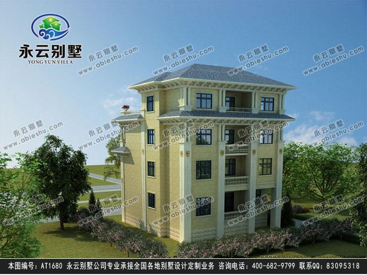 永云别墅at1680复式四层豪华私人别墅设计图纸13.04mx12.74m