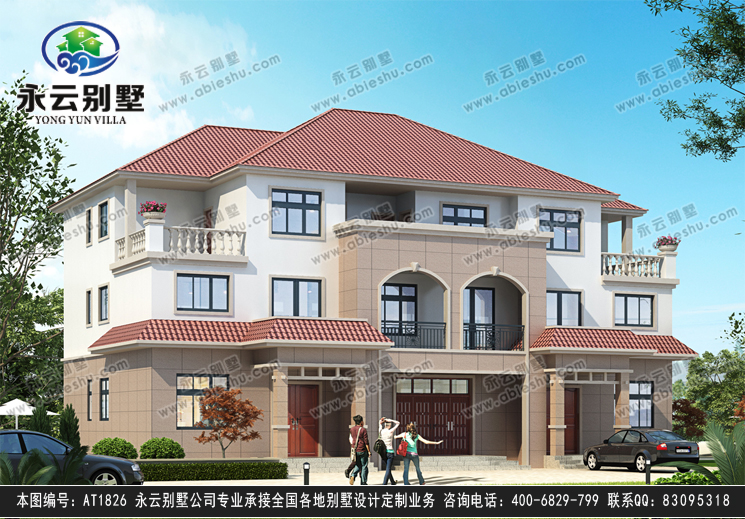2019新款at1826三层联排兄弟合建别墅设计施工图纸20m