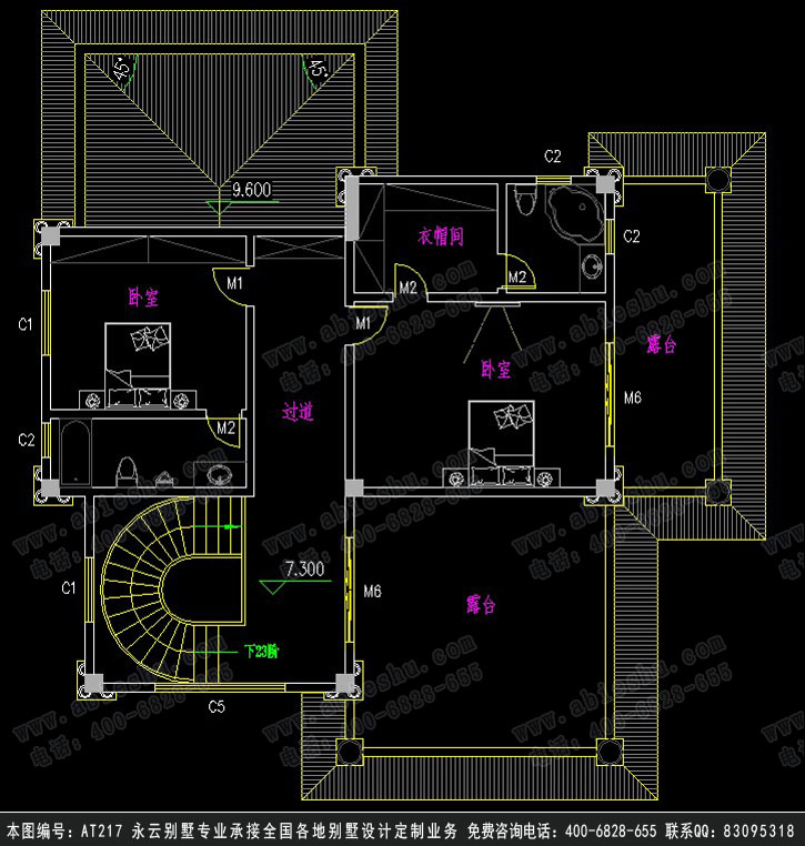 永云别墅at217三层现代农村复式别墅设计图纸15.9mx17.9m