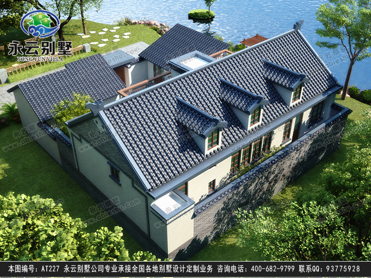 【永云别墅at227一层半四合院中式风格别墅建筑设计