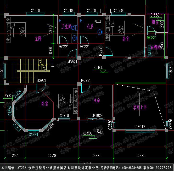 永云别墅at236三层带架空层豪华复式别墅全套建筑设计图纸16.74mx12m图片