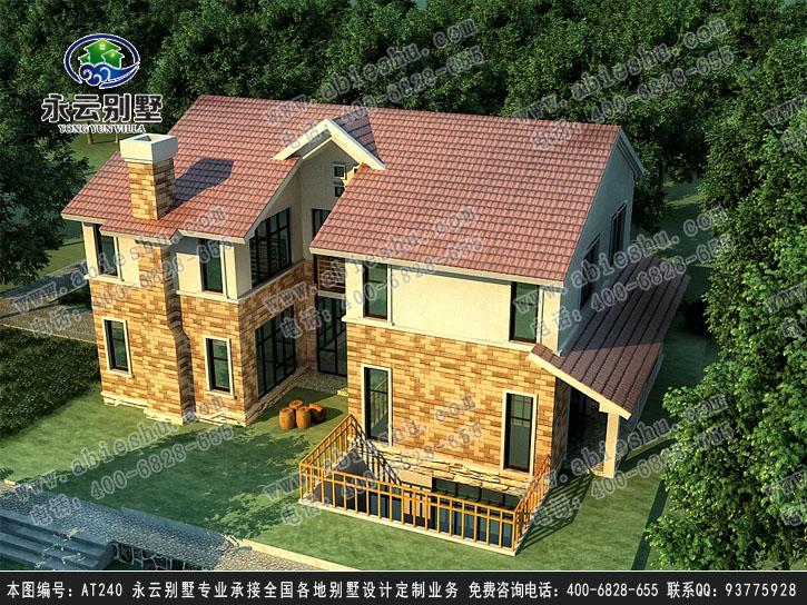 【永云别墅at240二层地下室带庭院别墅设计建筑图纸1