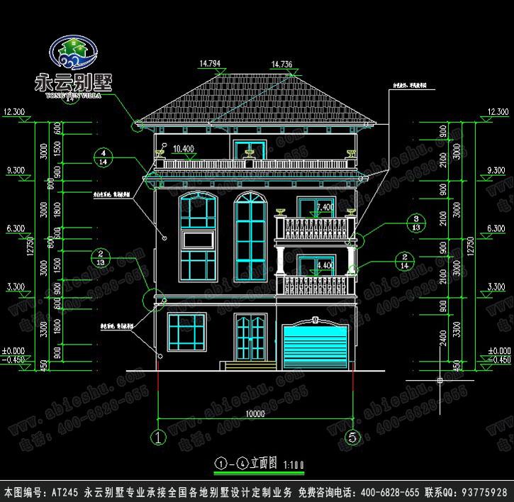 永云别墅at245四层简洁车库大露台别墅全套建筑设计图纸10mx16m