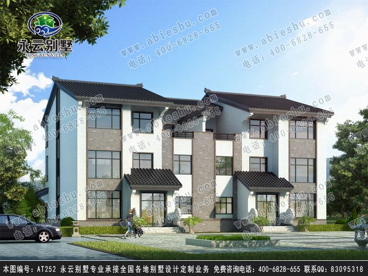 永云别墅at252三层双拼中式别墅建筑设计全套图纸20.34mx14.44m