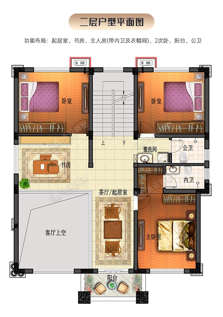 AT2806三层楼简欧小别墅三层楼户型平面图