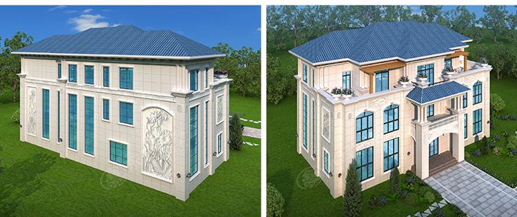 AT2812三层楼简欧小别墅多角度外观效果图