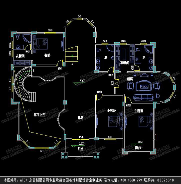 【at37带下室三层复式欧式大气别墅设计图纸