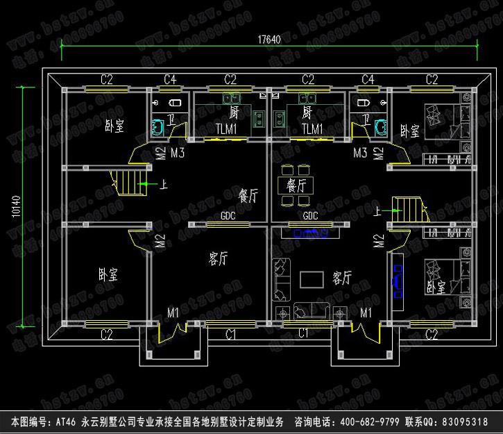 三层双拼别墅一层平面图