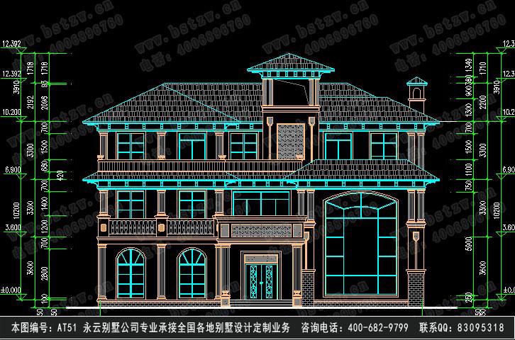 三层豪华别墅立面施工图