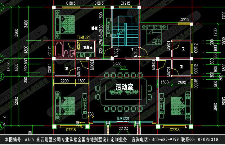 永云别墅at55三层半欧式大气别墅全套建筑施工图纸14m×12m