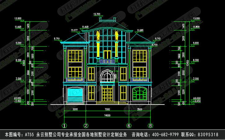 【永云别墅at55三层半欧式大气别墅全套建筑施工图纸