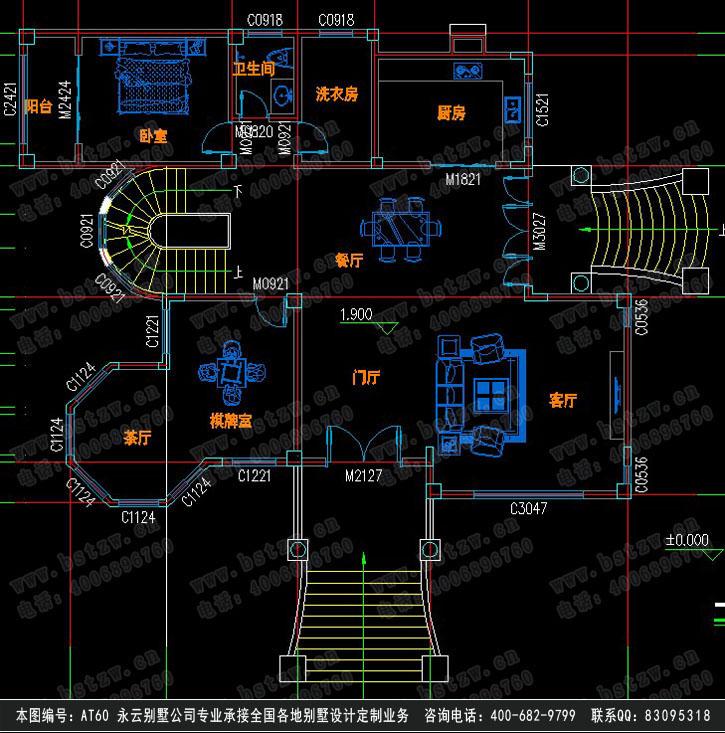 at60三层带地下窒露台欧式豪华别墅建筑设计施工图纸15m×13m