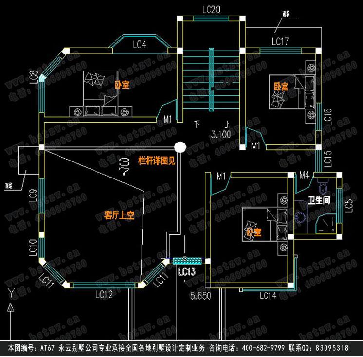 【at67豪华简欧式三层别墅设计图纸施工图纸13m×12m