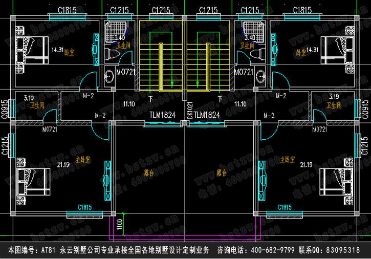 【【永云别墅at81】三层双拼兄弟款豪华别墅全套设计