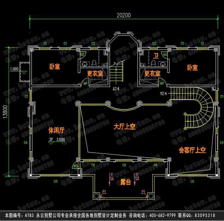 四层豪华别墅三层平面图