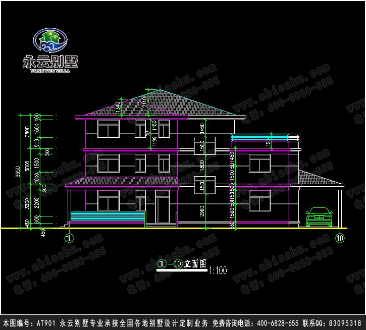永云别墅AT901a别墅三层图纸v别墅建筑及水电全的建筑面积上吗别墅准图片