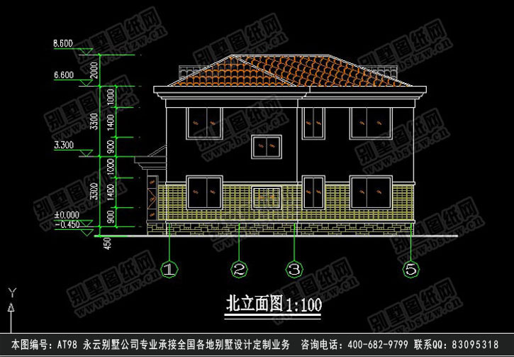 at98二层现代别墅带车库阳台全套设计图纸12m×13m