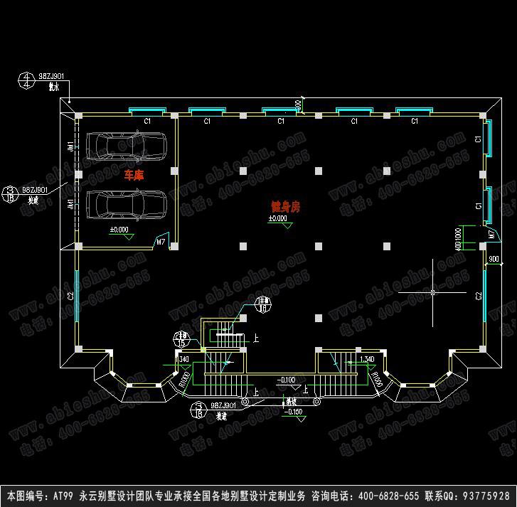 【at99欧式带地下停车场大型三层别墅全套设计图纸2