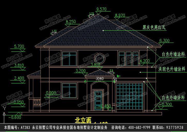 at283二层欧式别墅带车库全套设计图纸13m×15m