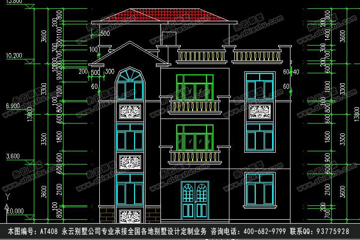 338欧式豪华三层别墅施工图纸别墅设计图纸