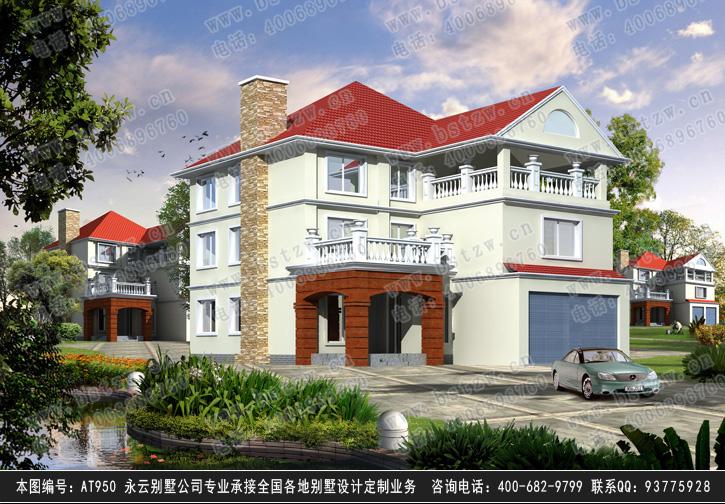 at950三层欧式高档双车库别墅建筑设计图纸12m×16m