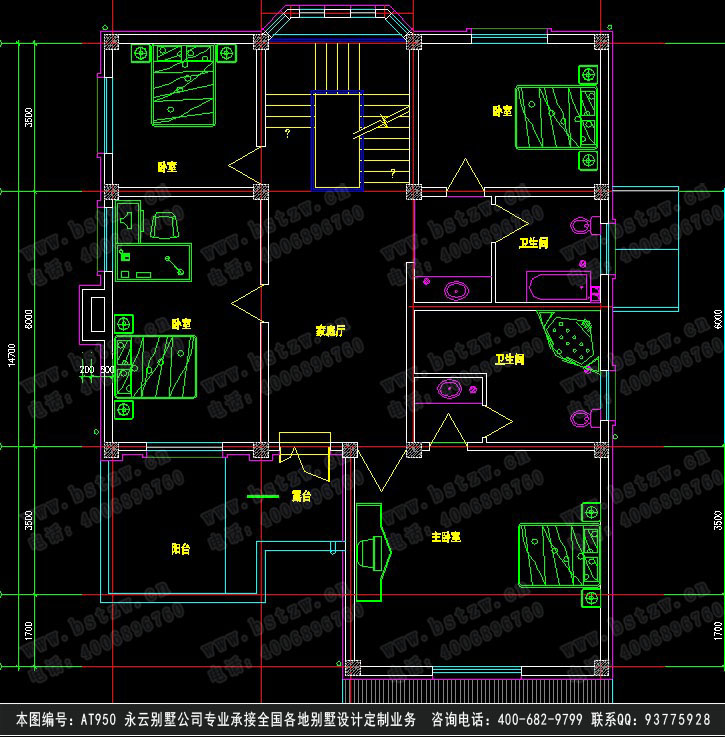 【at950三层欧式高档双车库别墅建筑设计图纸12m×