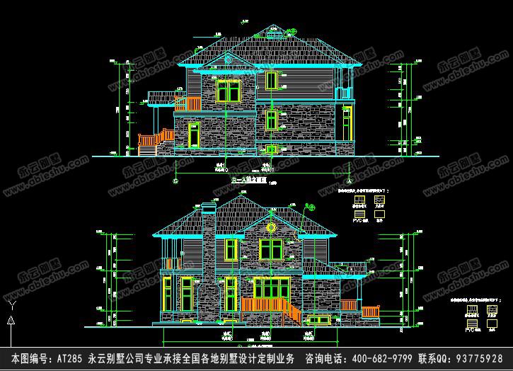 层美式豪华别墅带车库设计图纸 13m×15m特种建筑/建材      开间12.