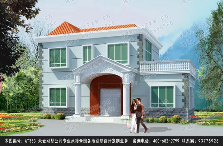 永云别墅at353新农村别墅设计图纸16m×11m 带露台二层别墅