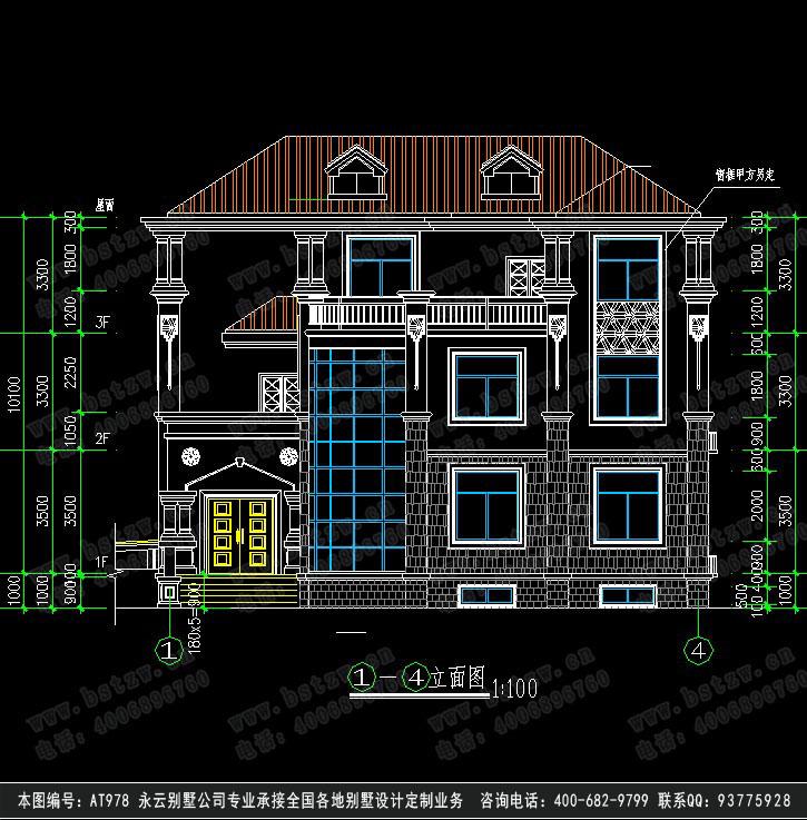 588欧式豪华三层别墅施工图纸别墅设计图纸