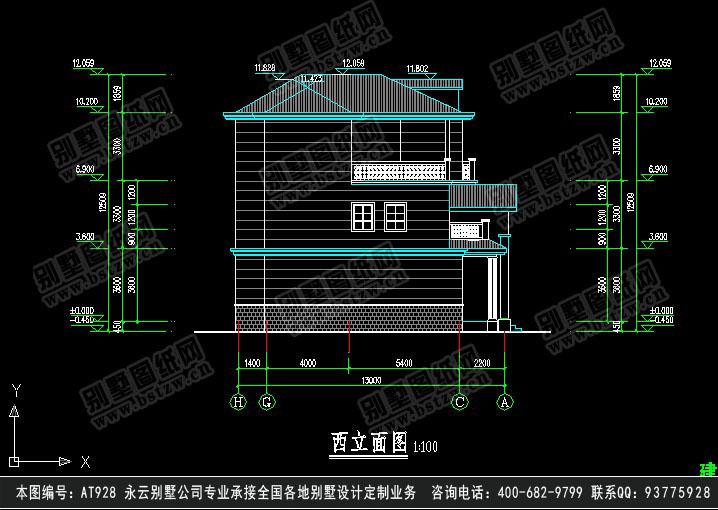 598欧式豪华三层别墅施工图纸别墅设计图纸