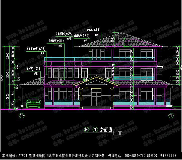 601欧式豪华三层别墅施工图纸别墅设计图纸