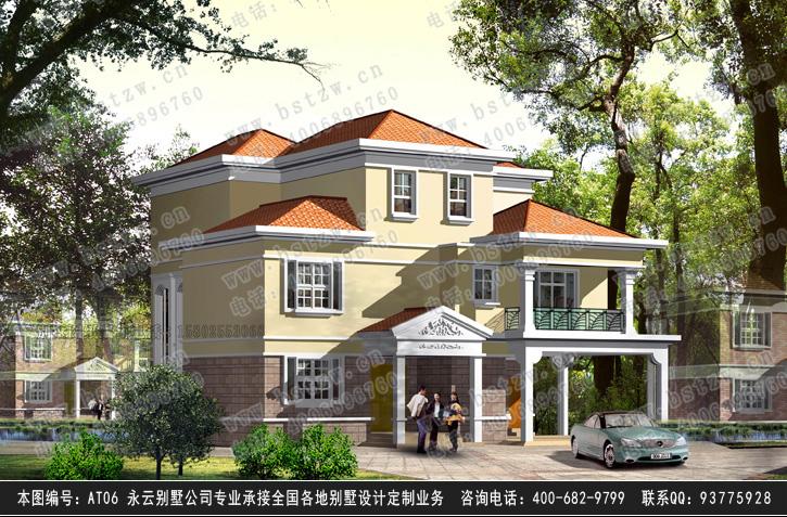 复式客厅别墅建筑施工设计图纸15m×16m  设计功能: 一层:双车库,门廊